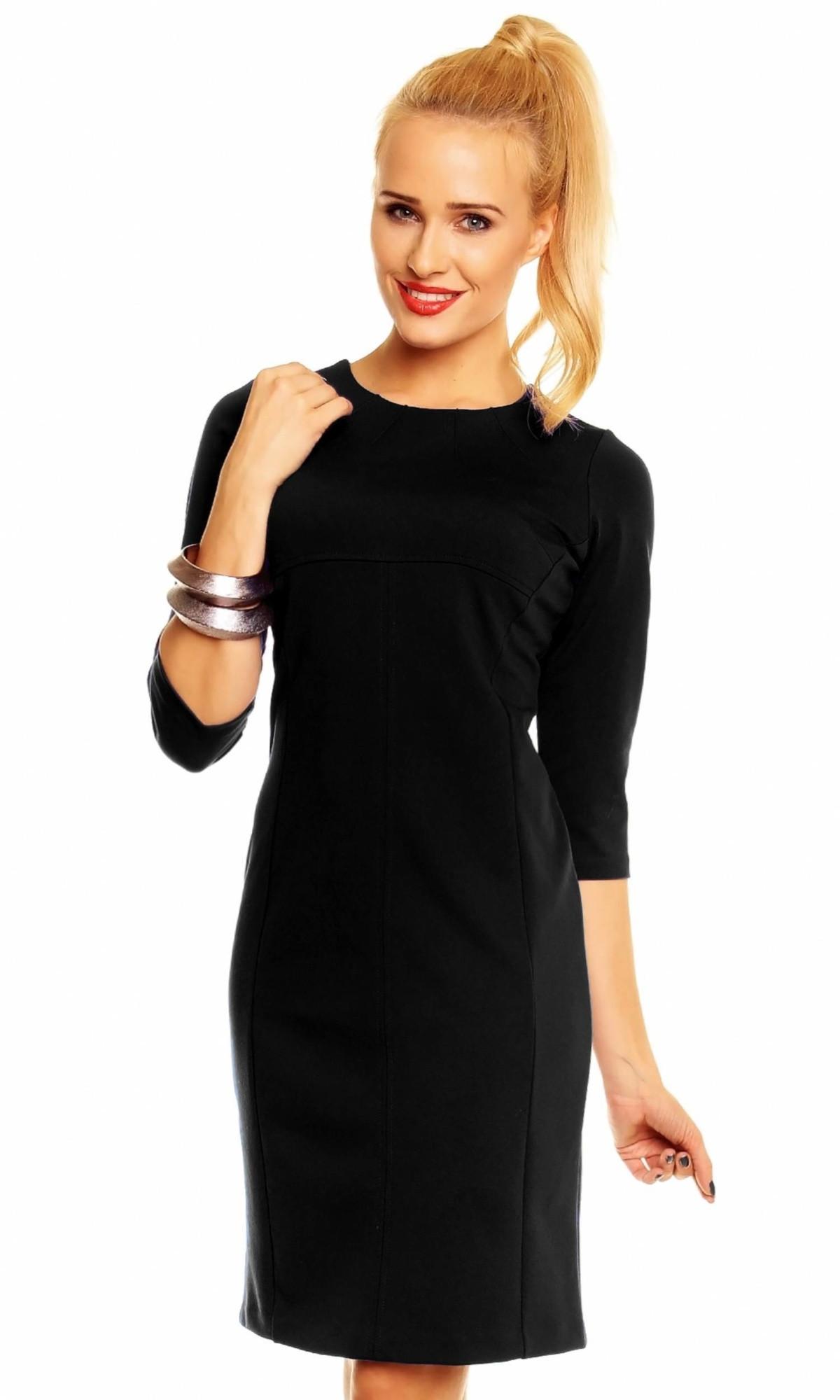 Spoločenské šaty WIKTORIA zdobené vo výstrihu stredne dlhé čierne - Čierna - Lental čierna 40