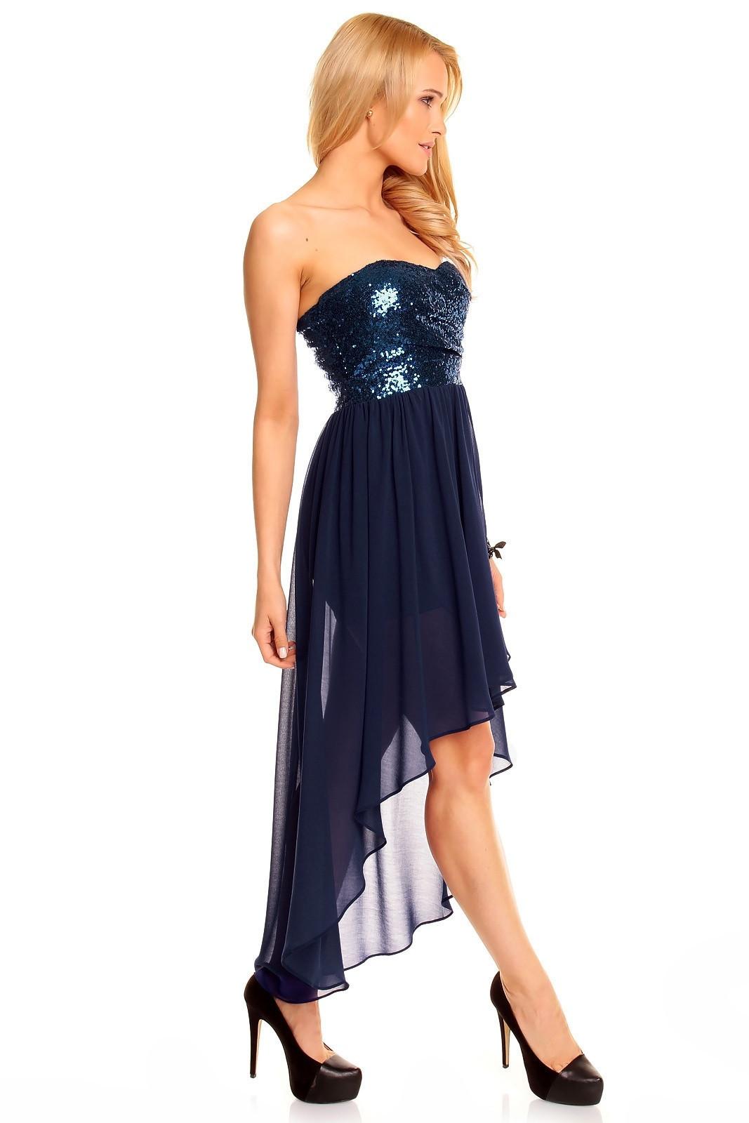 Dámske spoločenské šaty korzetové MAYAADI s asymetrickou sukňou tm. modré - Tmavo modrá - MAYAADI L