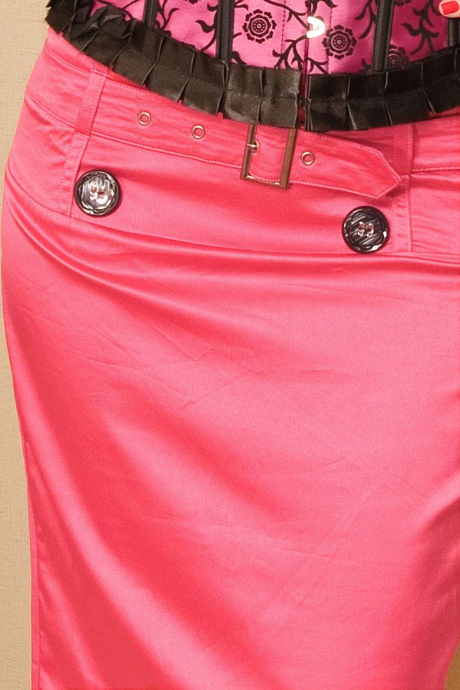 GORGE Dámska letná sukňa s opaskom a podšívkou zdobená gombíky ružová - Ružová - OEM M