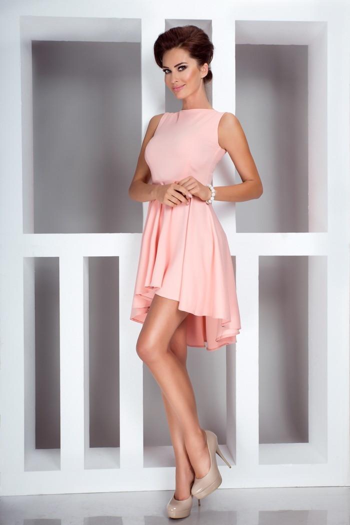 Dámske šaty Asymetric exkluzívny Lacoste lososovej - Ružová - Numoco lososová XL