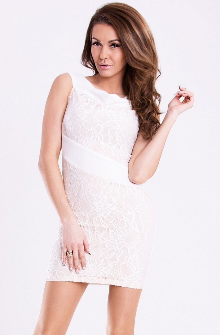 Dámske krajkové šaty EMAMODA bielo-krémové - Biela - YNS krémová M