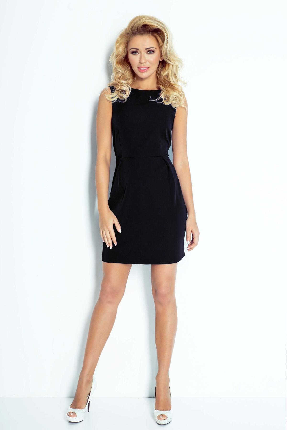 Dámske spoločenské šaty Madlen bez rukávov krátke čierne - Čierna - Numoco čierna L