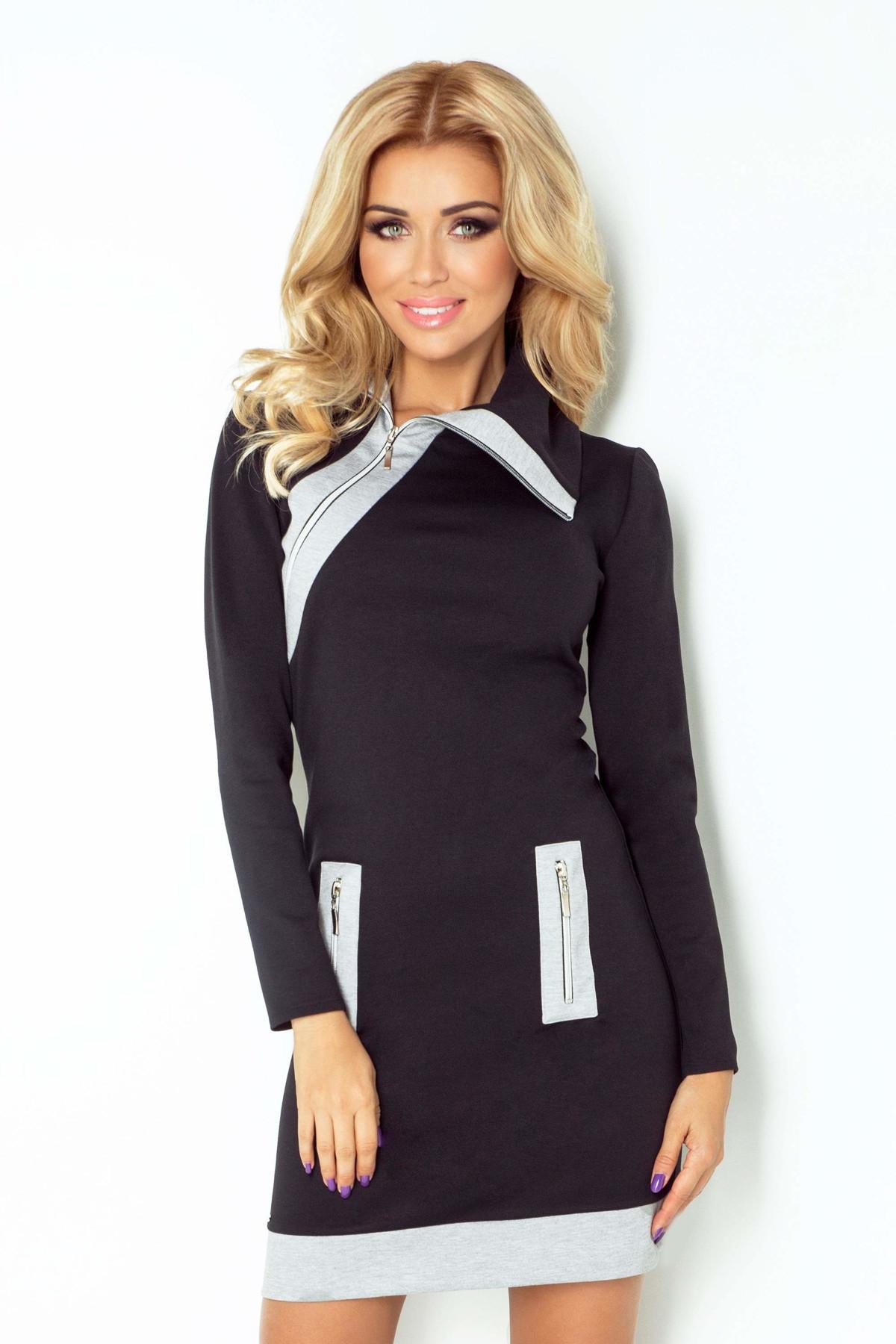 Dámske šaty značkové ZIPPY moderné s tromi zipsami čierne - Čierna - Numoco černá-šedá S