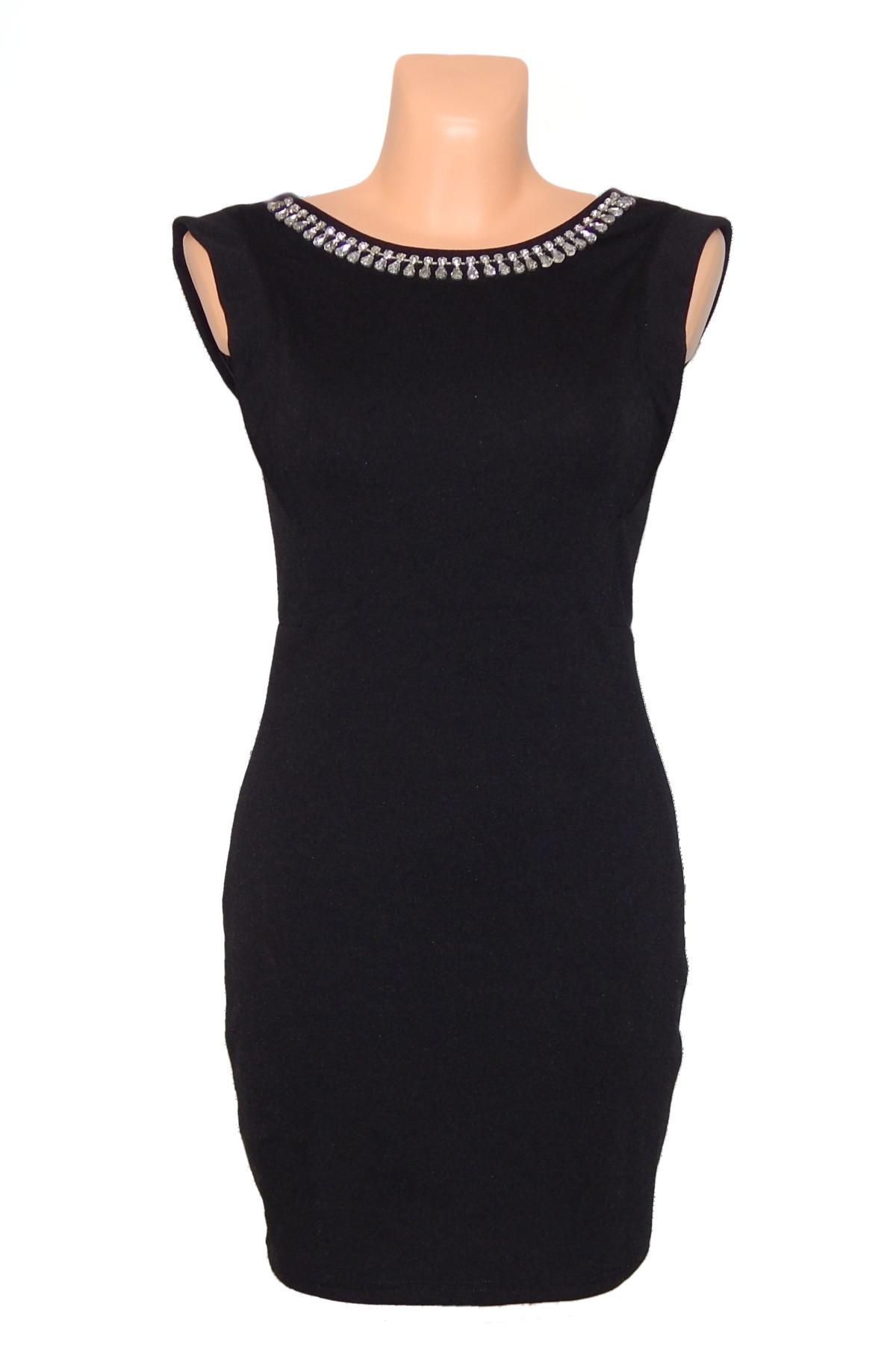 Spoločenské šaty zdobené kamene vo výstrihu bez rukávu krátke čierne - Čierna - CoCo Giulia čierna S