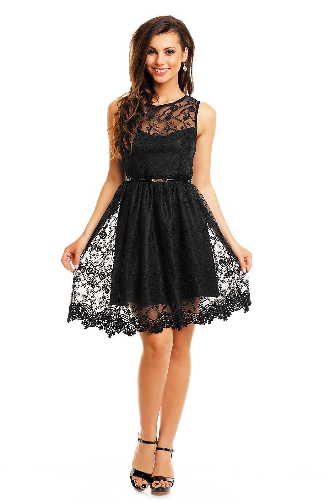 Spoločenské šaty MAYAADI krajkové s opaskom stredne dlhé čierne - Čierna - MAYAADI černá XL