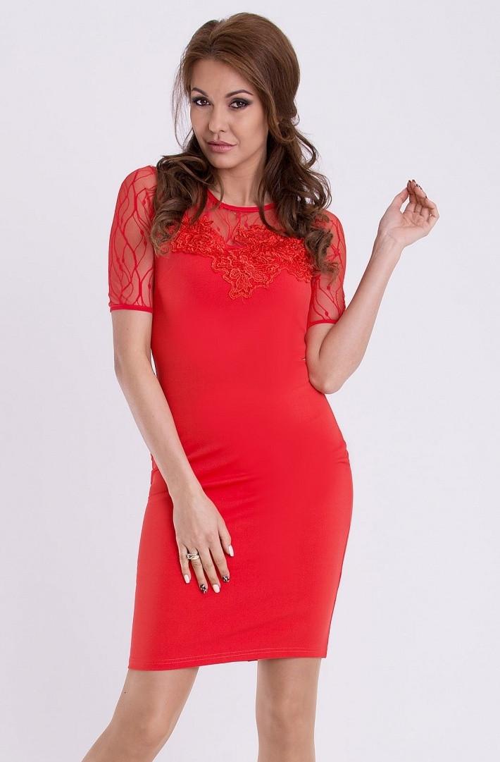 Dámske spoločenské šaty s krátkym rukávom EMAMODA červené - Červená - YNS červená L