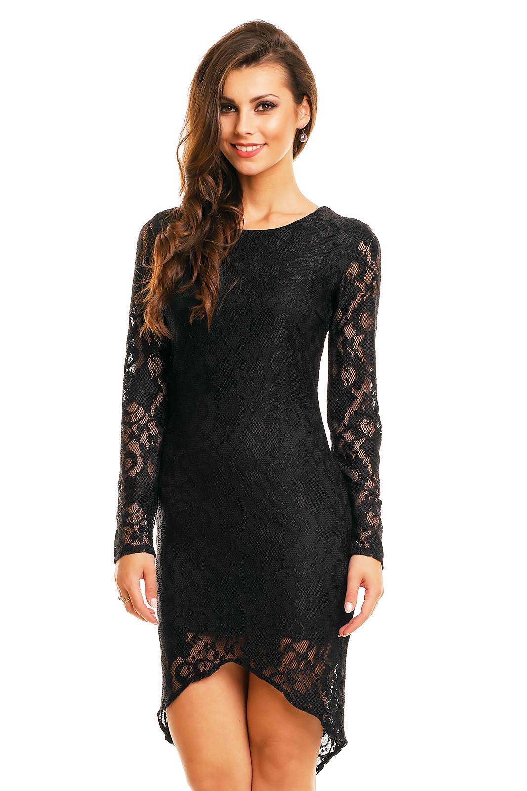 Spoločenské šaty značkové MAYAADI krajkové s asymetrickou sukňou čierne - Čierna - MAYAADI čierna S