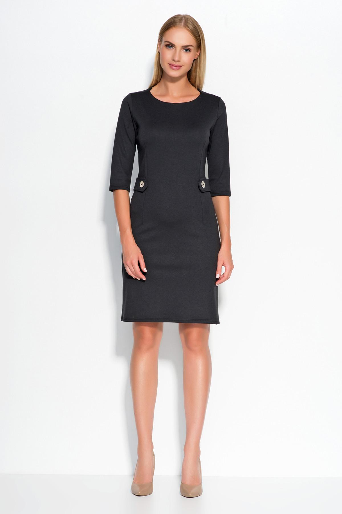 Dámske šaty značkové zdobené v páse gombíkmi stredne dlhé čierne - Čierna - Makadamové černá 42