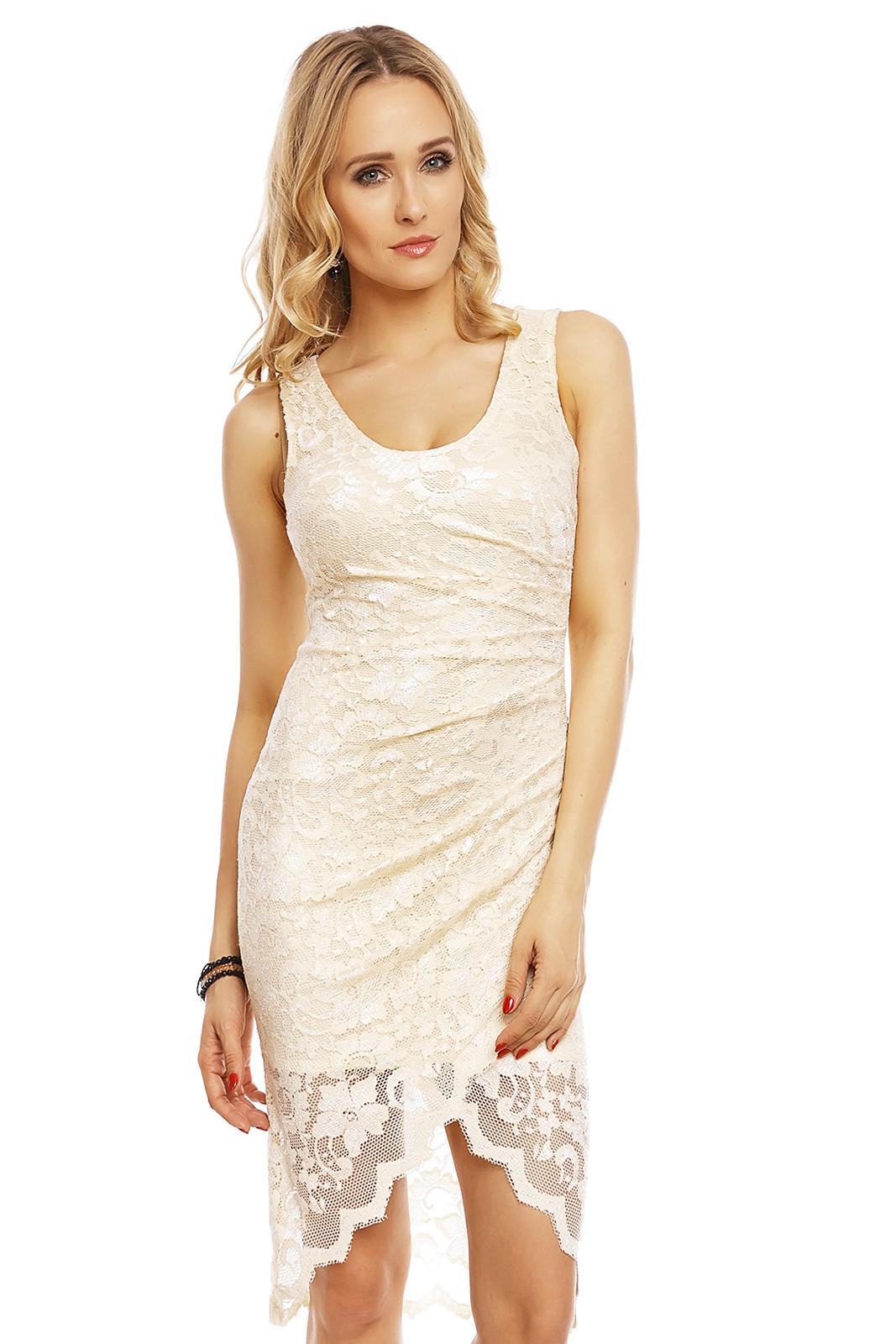 Spoločenské šaty MAYAADI Deluxe krajkové s asymetrickou sukňou krémové - Béžová - MAYAADI krémová XL