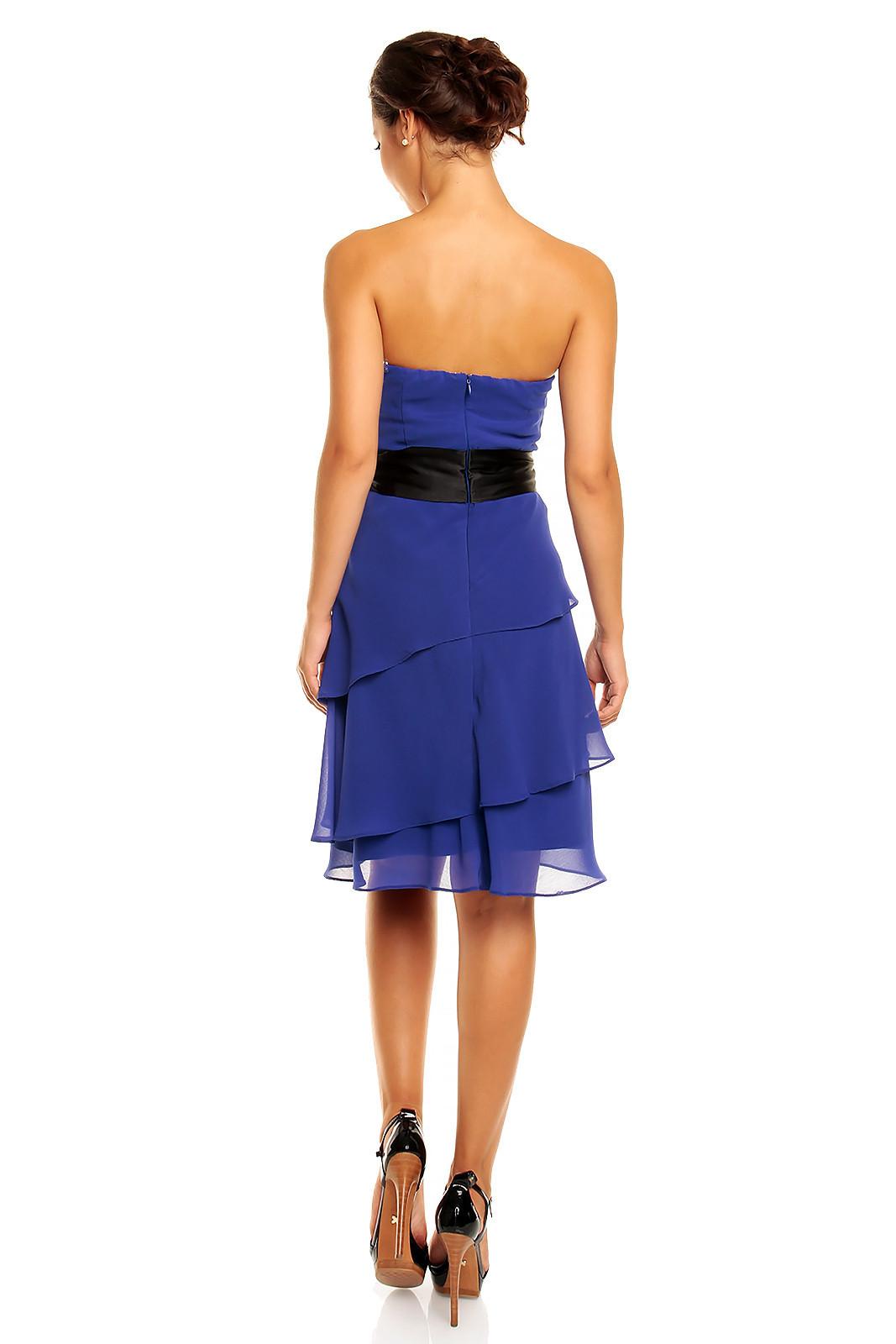 Spoločenské šaty korzetové značkové MAYAADI s mašľou a sukňou s volánmi modré - Modrá - MAYAADI S
