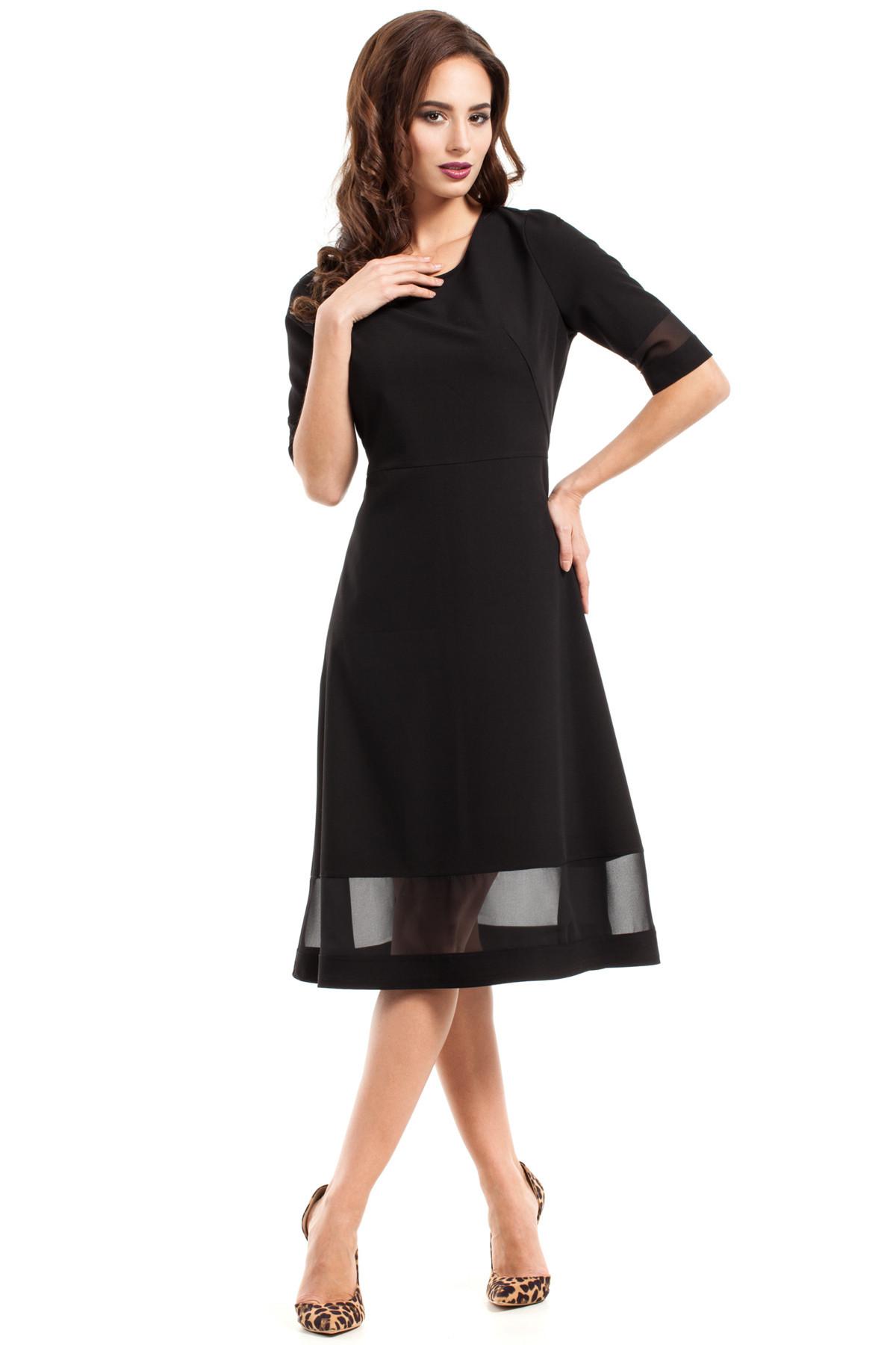 Dámske spoločenské šaty s voľnou sukňou čierne - Čierna - MOE M