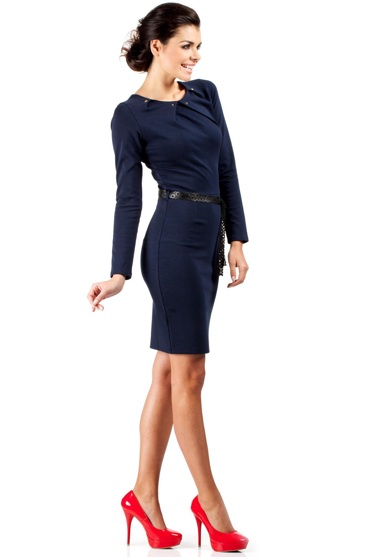 Dámske spoločenské šaty s opaskom tmavo modré - Tmavo modrá - MOE 40
