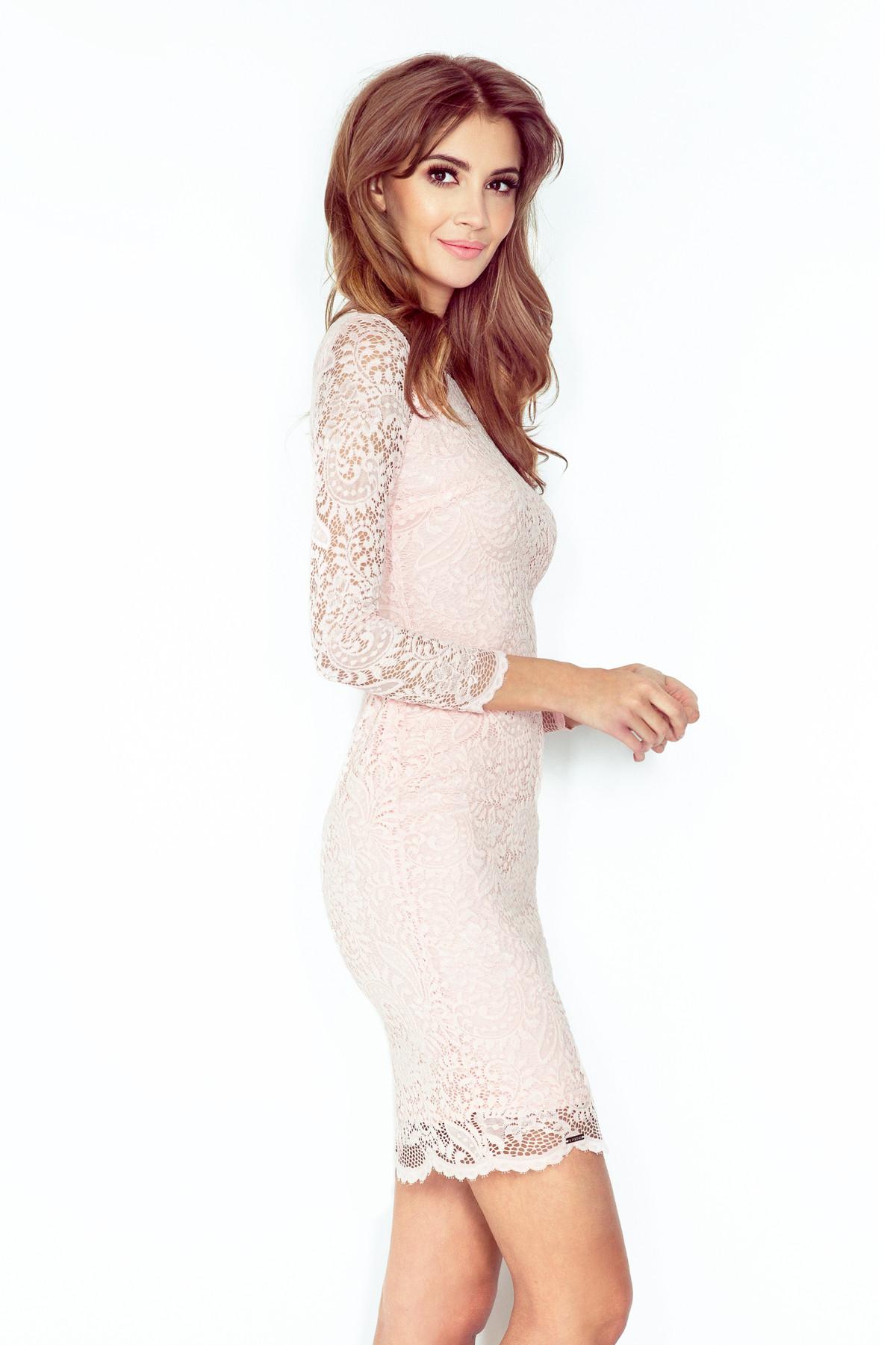 Dámske spoločenské šaty v romantickom strihu krajkové svetlo ružové - Ružová - Numoco púdrová L