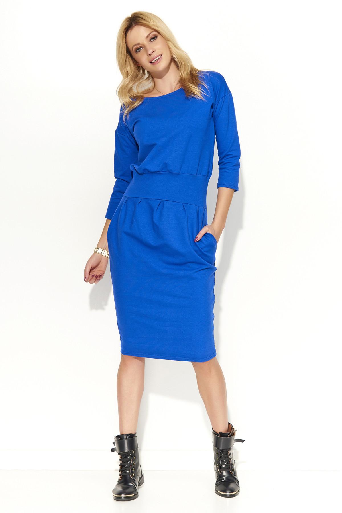 Dámske šaty s voľným strihom stredne dlhé modré - Modrá - Makadamové modrá 42