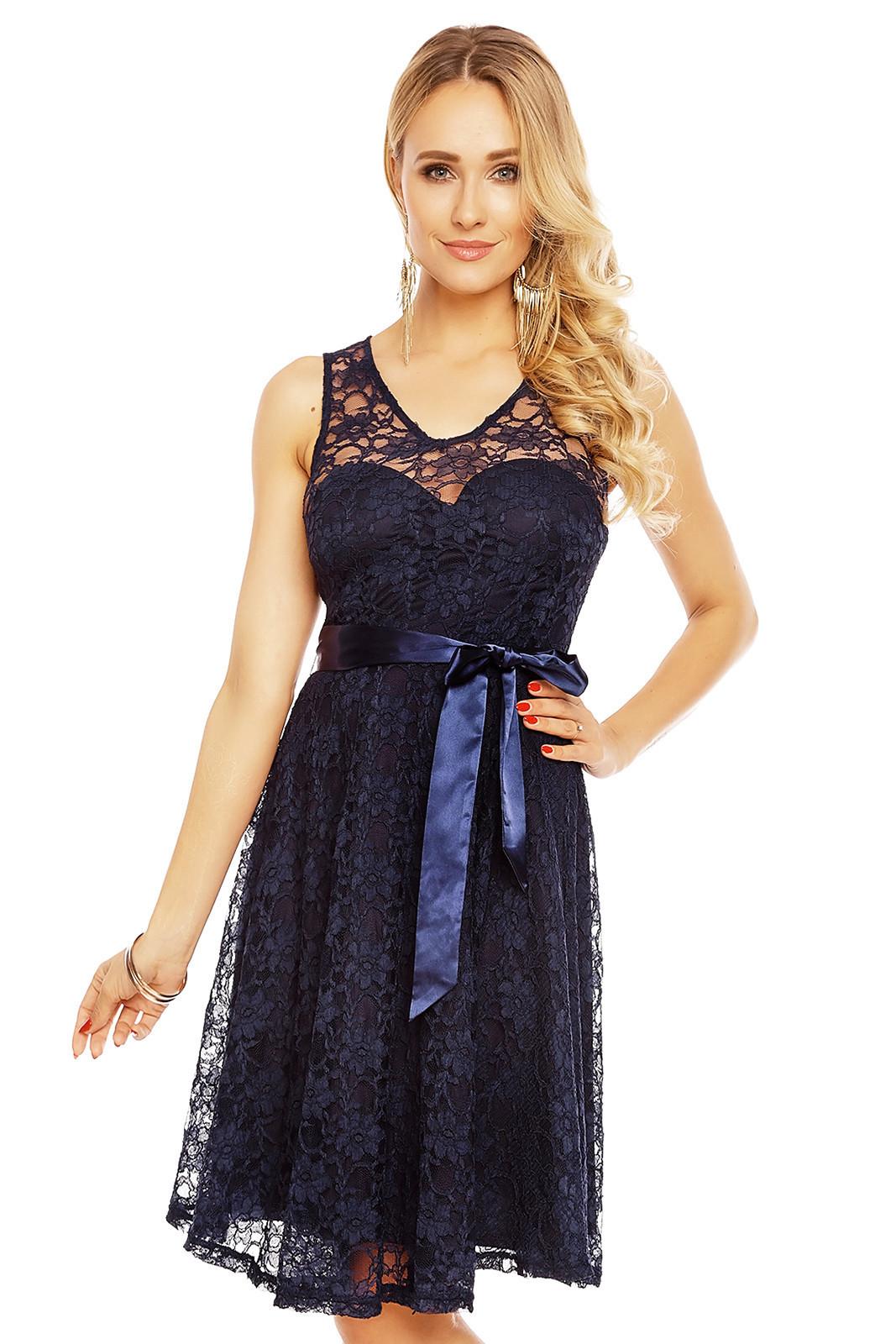 Dámske krajkové šaty na ramienka s opaskom stredne dlhé tmavo modré - Tmavo modrá - MAYAADI tmavo modrá L