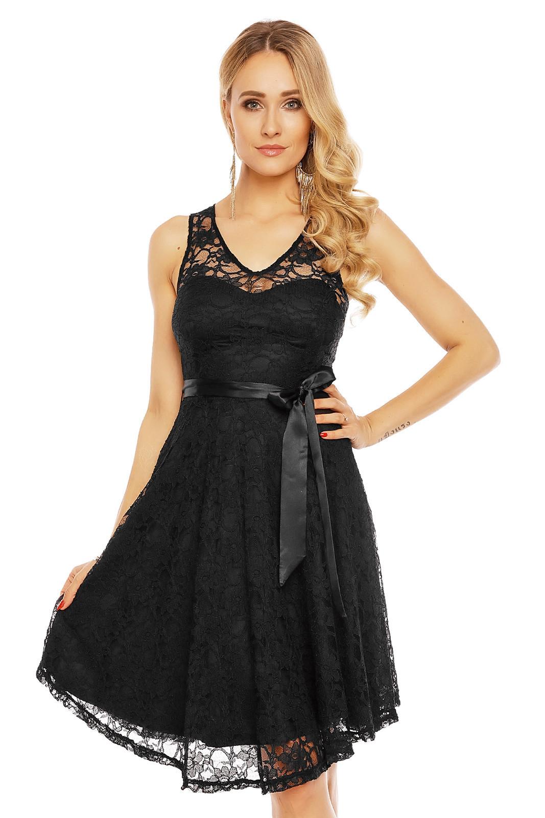 Dámske krajkové šaty na ramienka s opaskom stredne dlhé čierne - Čierna - MAYAADI čierna M