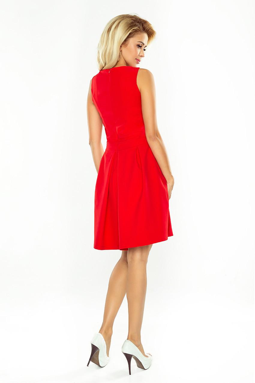Dámske spoločenské šaty bez rukávov široká sukňa s vreckami červené - Červená - Numoco červená XL