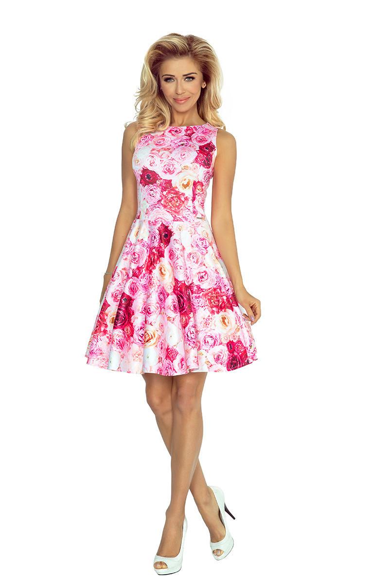 Spoločenské exkluzívne šaty s kolovou sukňou s potlačou kvetín ružové - Ružová - Numoco ružová s kvetmi XXL