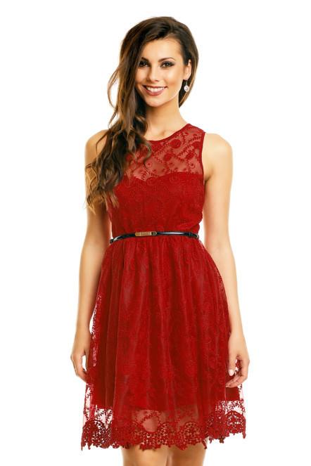 Spoločenské šaty MAYAADI krajkové s opaskom stredne dlhé červené - Červená - MAYAADI červená M