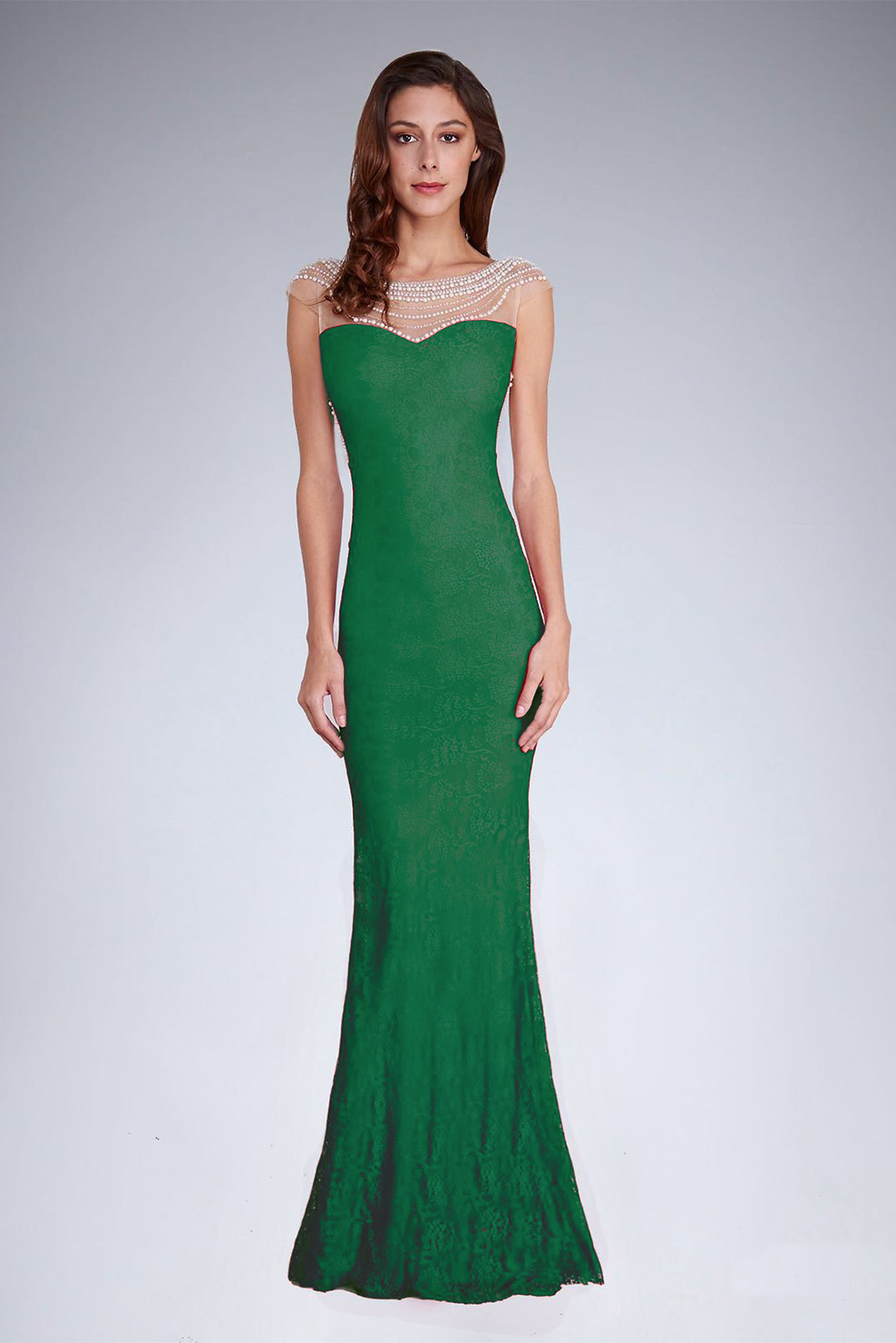 Dámske spoločenské šaty šoky soka s perličkami a čipkou dlhé zelené - Zelená - šoky & soka zelená M