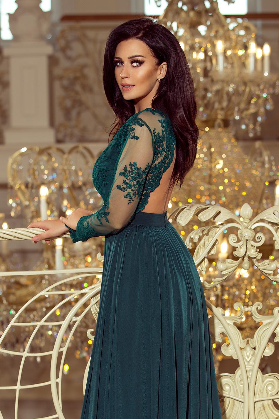 Exkluzívne dámske šaty s výšivkami a dlhým rukávom dlhé zelené - Zelená - Numoco M