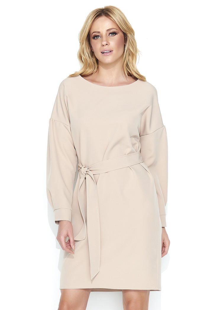 Dámske elegantné šaty s opaskom stredne dlhé béžovej - Béžová - Makadamové béžová 36