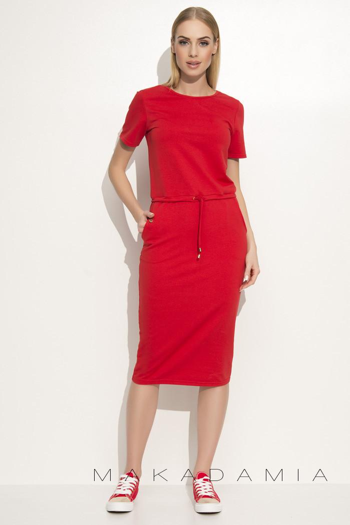 Dámske šaty na denné nosenie so zaväzovaním v páse červené - Červená - Makadamové červená M