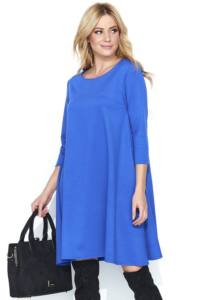 Dámske šaty na denné nosenie vo voľnom strihu stredne dlhé modré - Modrá - Makadamové modrá 44