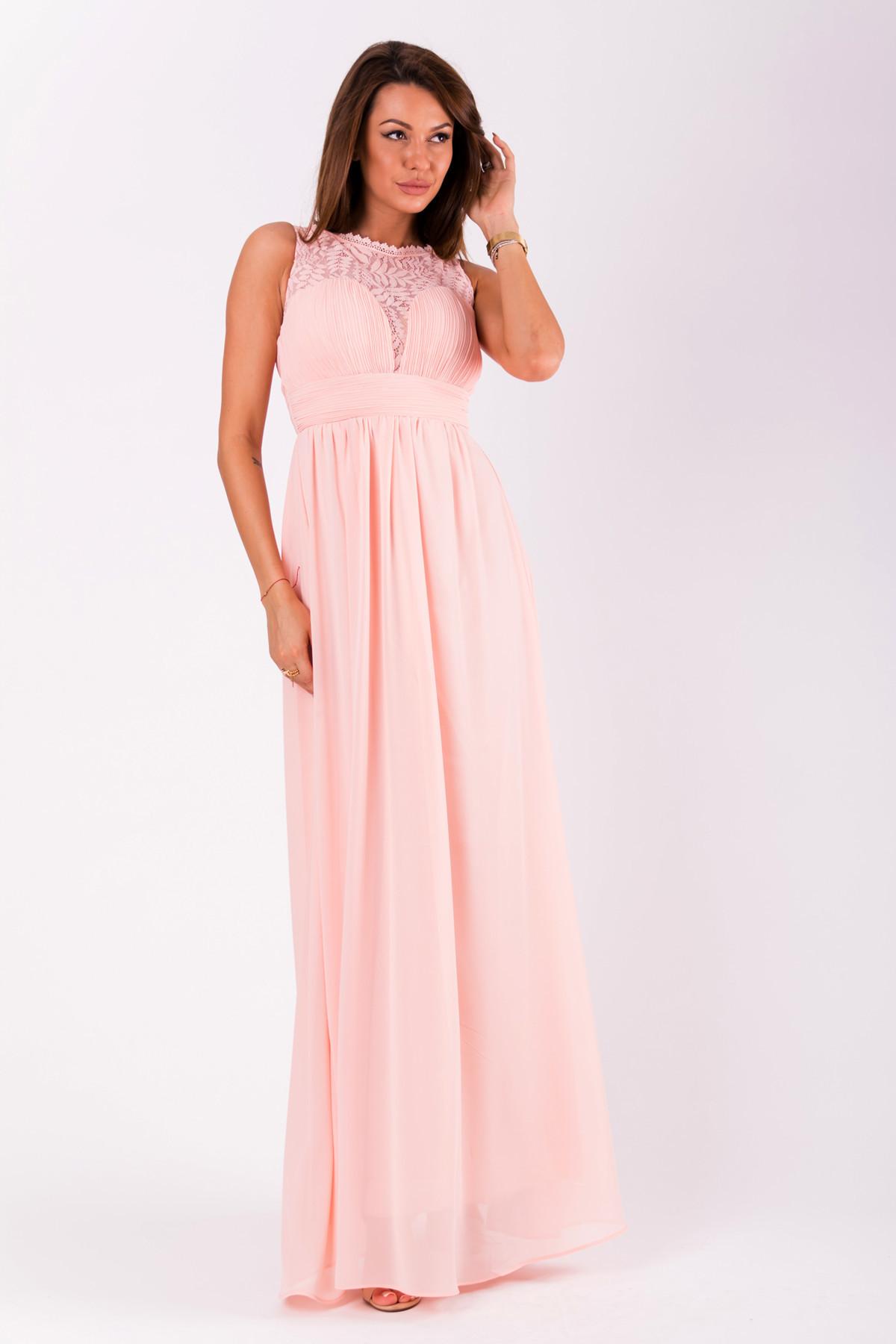 Spoločenské dámske šaty EVA & LOLA bez rukávov dlhé ružové - Ružová - EVA & LOLA S