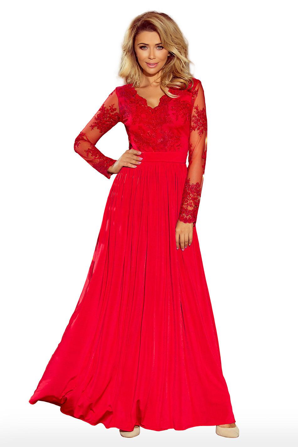 Exkluzívne dámske šaty s výšivkami a dlhým rukávom dlhé červené - Červená - Numoco S