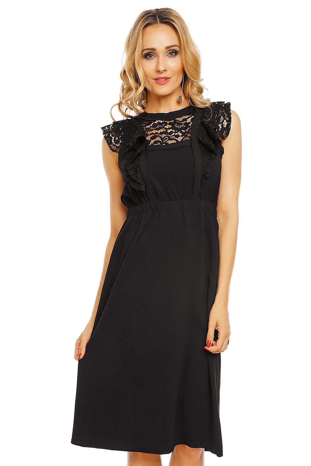 Dámske šaty s čipkovaným rukávom stredne dlhé čierne - Čierna - Elli White černá S/M