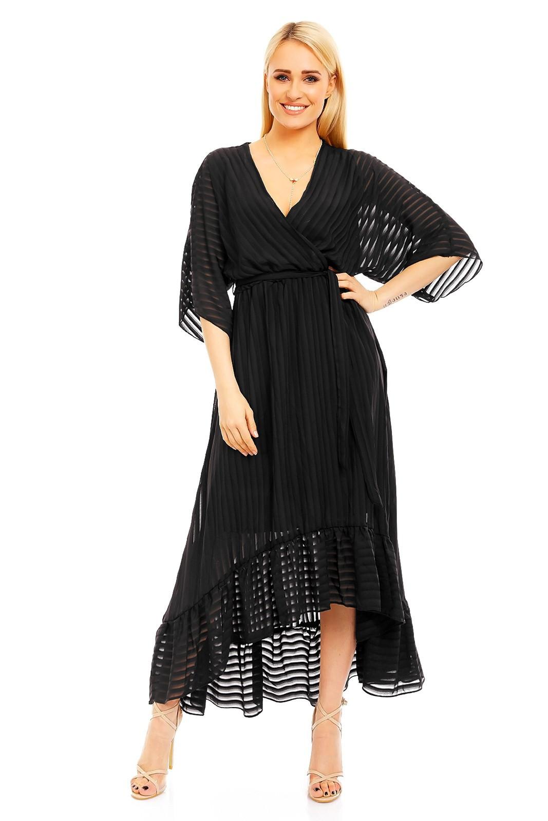 Ľahké dámske šaty s asymetrickou sukňou čierne - Čierna - LULU & LOVE černá S/M