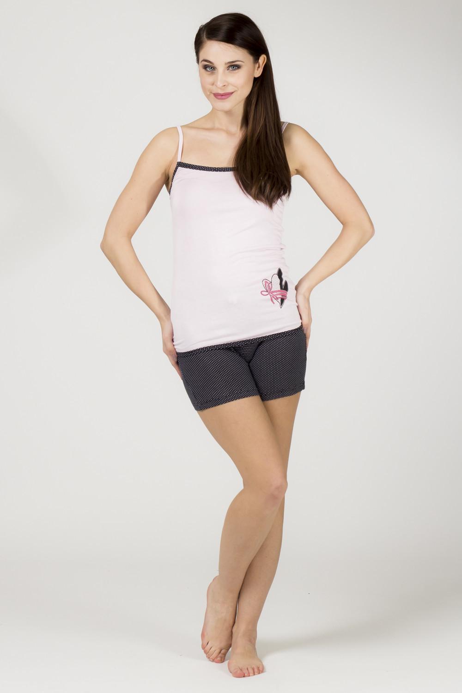 Dámske pyžamo 595 KST - Cocoon ružovo-čierna XL