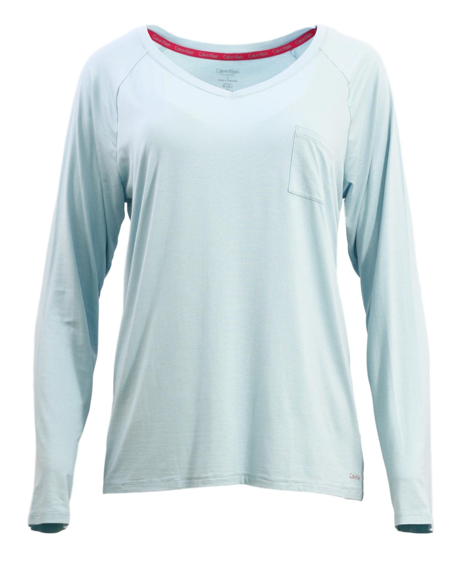 Dámské tričko na spaní QS5322E - Calvin Klein Barva: modrozelená, Velikost: L