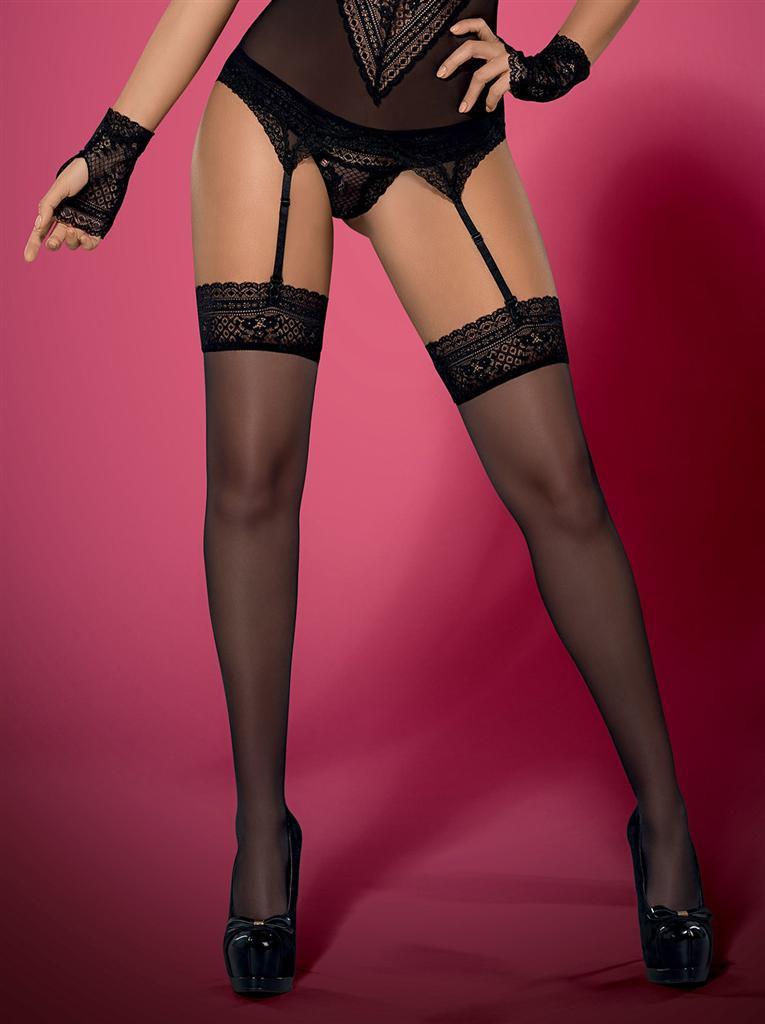 Punčochy Picantina stockings XXL - Obsessive Barva: černá, Velikost: XXL