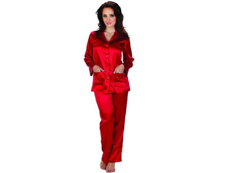 Dámské saténové pyžamo Classic 934 - De Lafense Barva: perlová, Velikost: XL