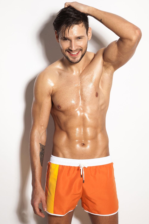 Pánske šortky / plavky Curso - Alpha Male čierno-oranžová L