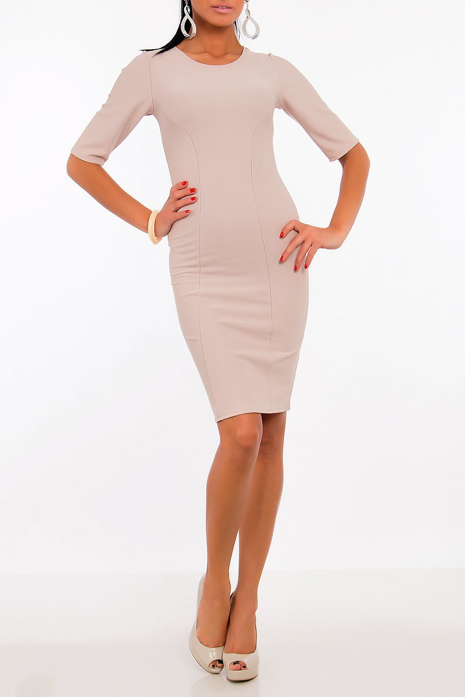 Dámské šaty model 52323 Vein Barva: béžová, Velikost: L