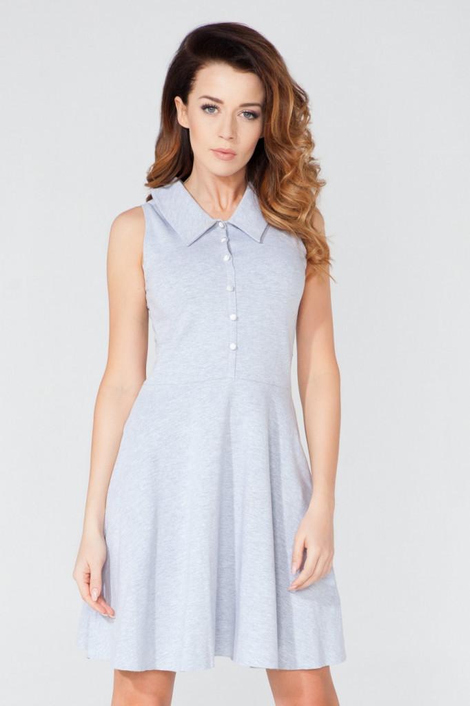 Tessita Denní šaty model T115/2 Barva: šedá, Velikost: L