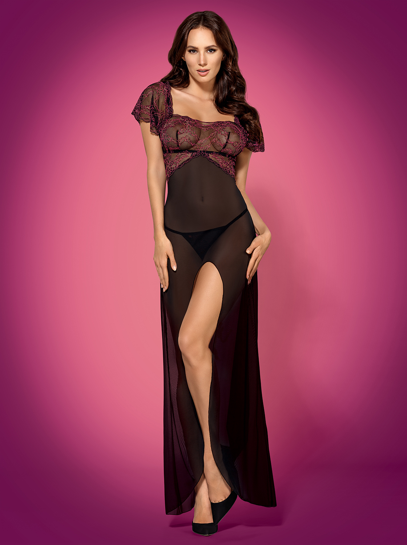 Župan Sedusia gown - Obsessive Barva: černá, Velikost: S/M