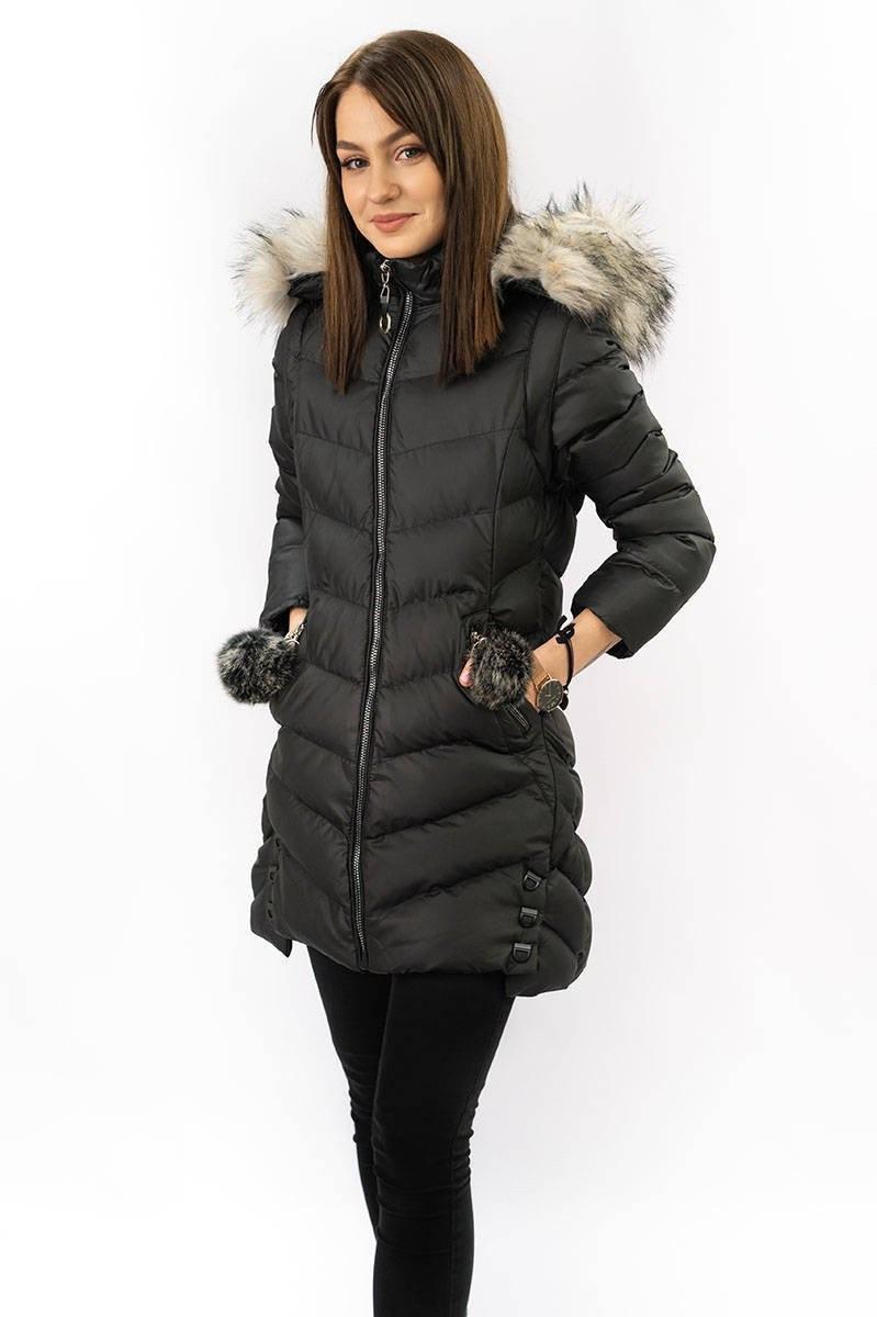Dámska zimná bunda s odepínajicími rukávmi (W761) Bordo - Geminy čierna XL