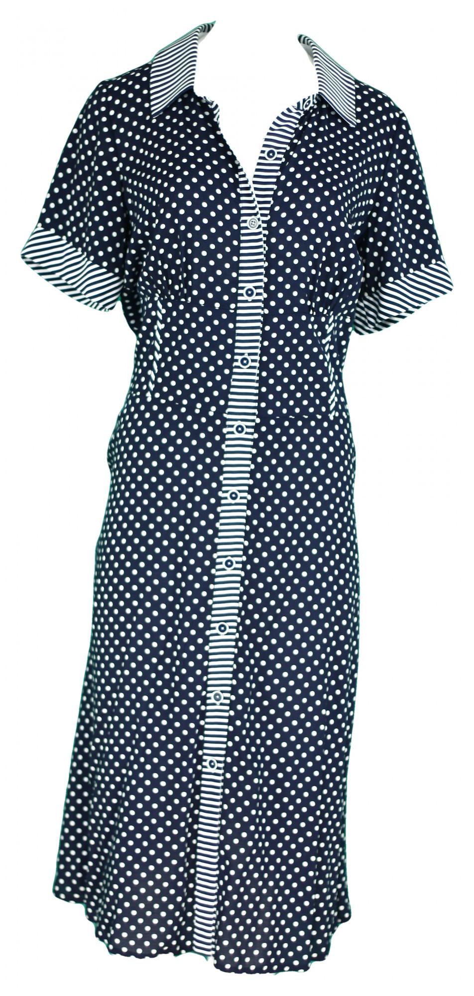Dámske šaty 0125 - Gonera modrá - puntíkatá 42