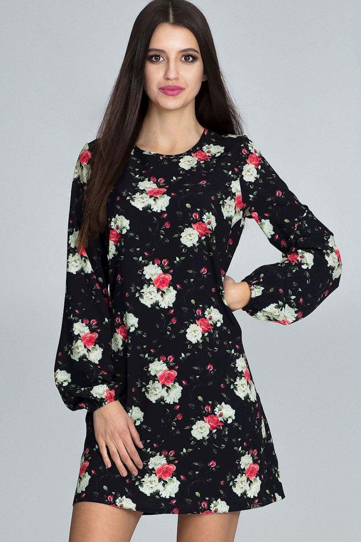 Dámske šaty M596 - Figl čierna s kvetinami 40