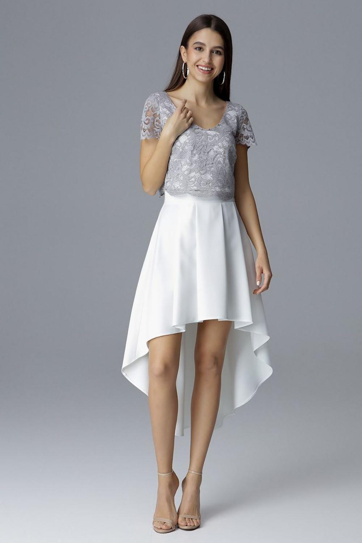 Dámske šaty - set M641 - Figl šedá-smotanová 42