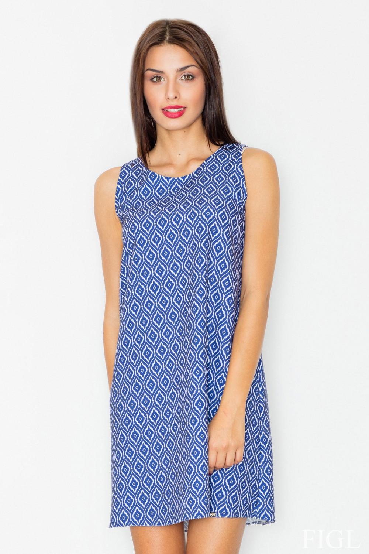 Dámske šaty M518 - Figl modrá a bílá S-36