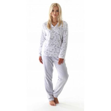 Dámske teplé pyžamo Flora 64569102 - Vestis šedo-biela L