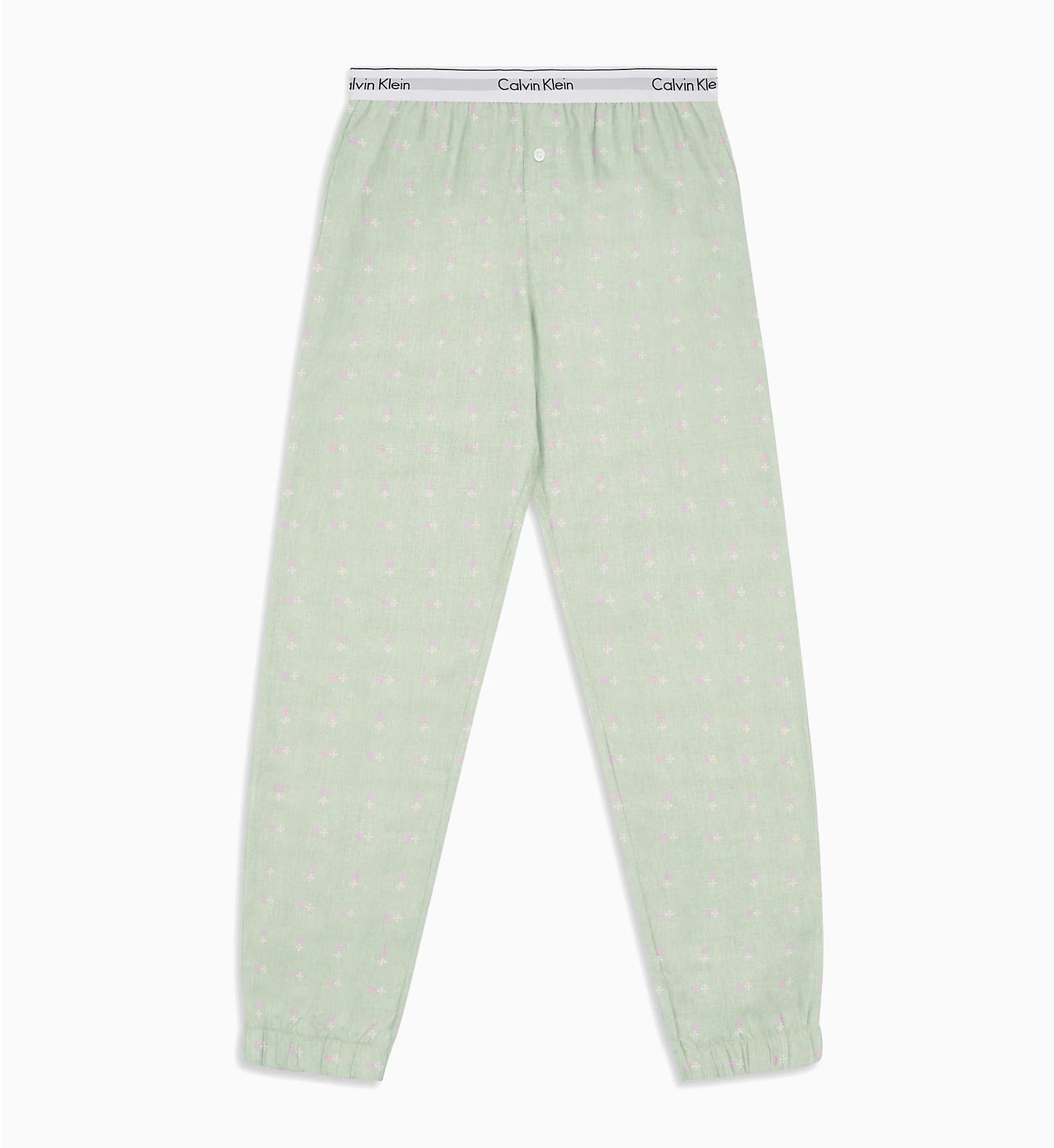 Dámske pyžamové nohavice QS5934E-FPV zelená - Calvin Klein zelená L
