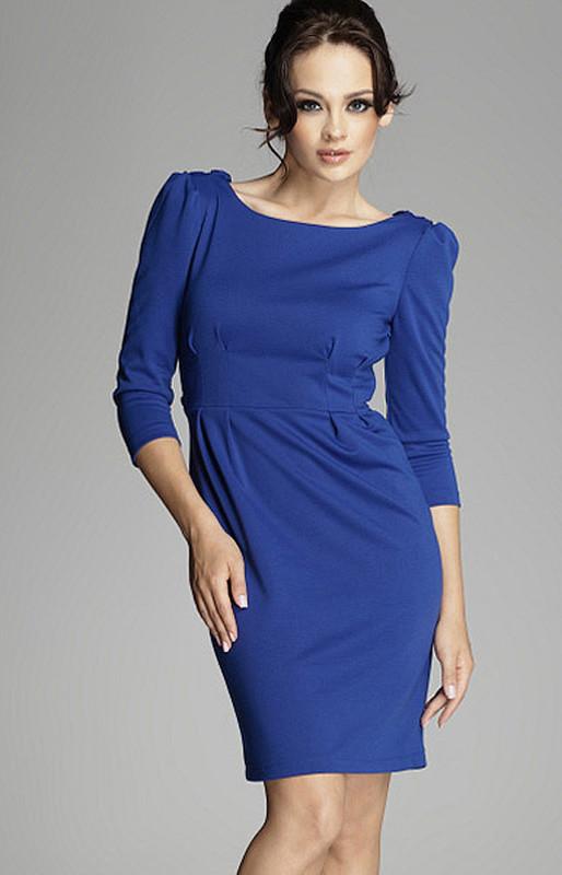 Elegantné šaty M082 modrá - Figl biela 38
