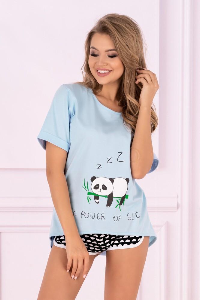 Dámske pyžamo Panda - LivCo Corsetti modro - čierna S / M