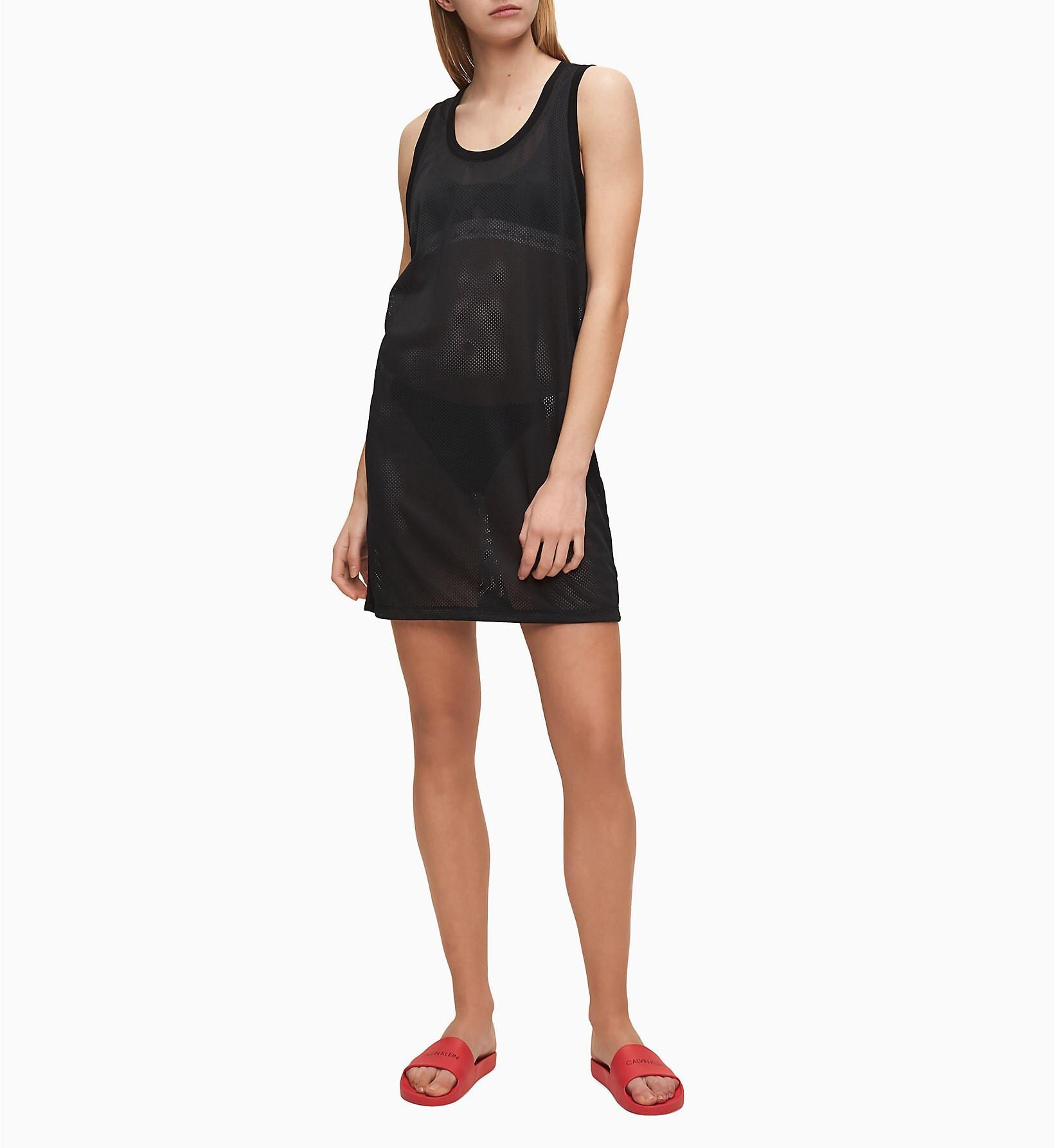 Plážové šaty KW0KW01001-BEH čierna - Calvin Klein čierna L